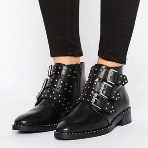 ASOS Asher Black Leather Studded Ankle Boots Sz 8